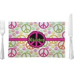 Peace Sign Glass Rectangular Lunch / Dinner Plate - Single or Set (Personalized)