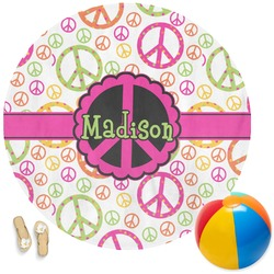 Peace Sign Round Beach Towel (Personalized)