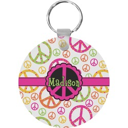 Peace Sign Round Keychain (Personalized)