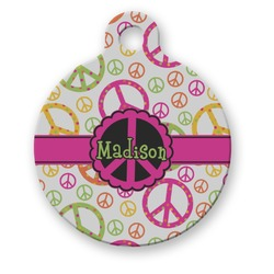 Peace Sign Round Pet Tag (Personalized)