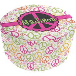 Peace Sign Round Pouf Ottoman (Personalized)