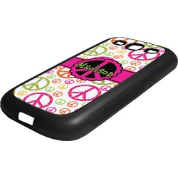 Peace Sign Rubber Samsung Galaxy 3 Phone Case (Personalized)