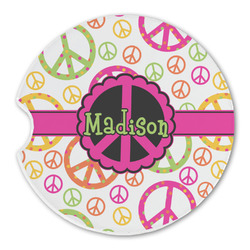 Peace Sign Sandstone Car Coasters (Personalized)