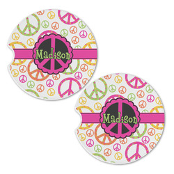 Peace Sign Sandstone Car Coasters - Set of 2 (Personalized)