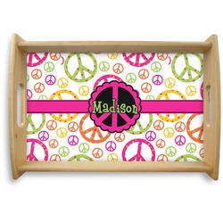 Peace Sign Natural Wooden Tray - Small (Personalized)