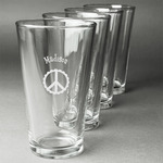 Peace Sign Beer Glasses (Set of 4) (Personalized)