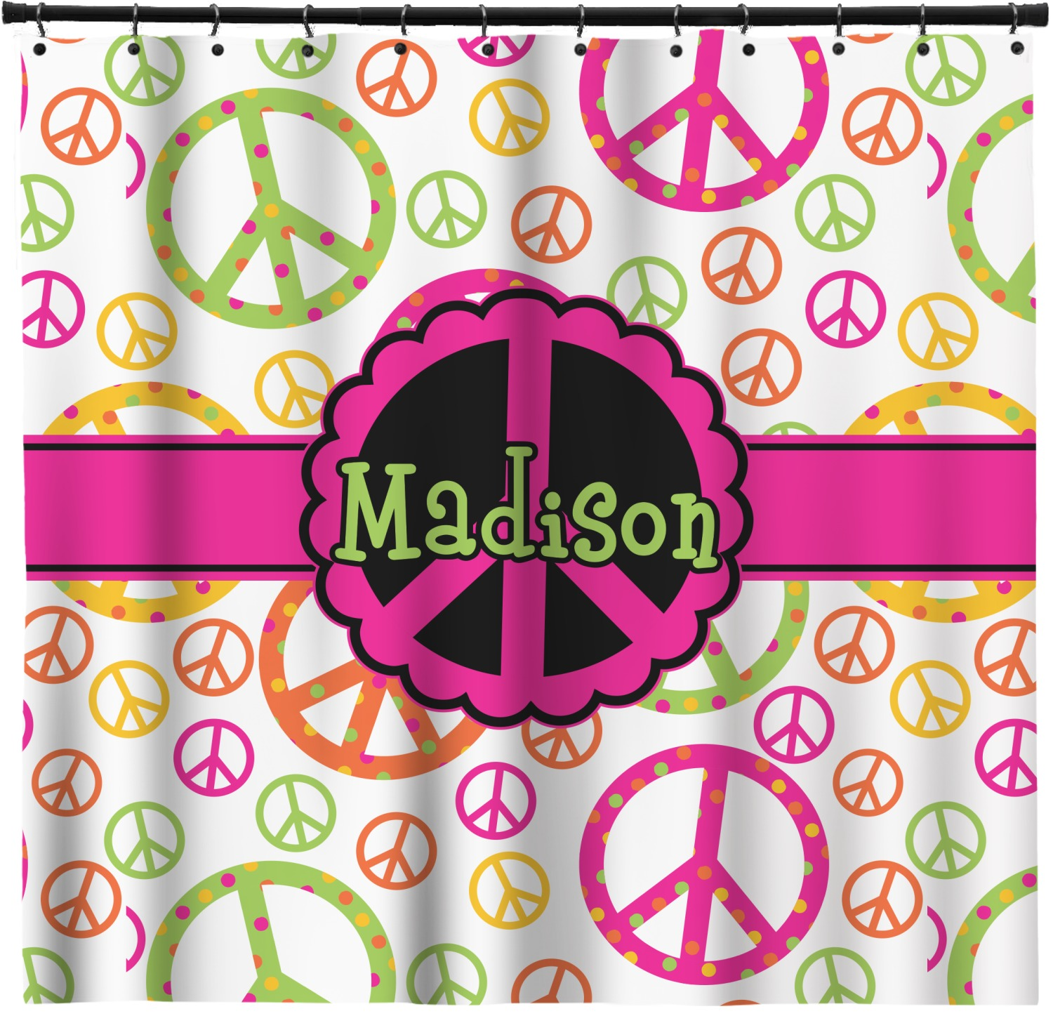Peace Sign Shower Curtain Personalized