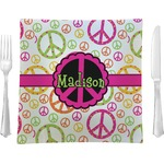 Peace Sign Glass Square Lunch / Dinner Plate 9.5