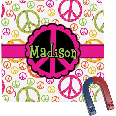 Peace Sign Square Fridge Magnet (Personalized)
