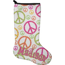 Peace Sign Holiday Stocking - Neoprene (Personalized)