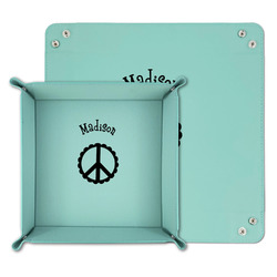 Peace Sign Teal Faux Leather Valet Tray (Personalized)