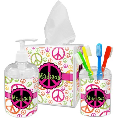 Peace Sign Acrylic Bathroom Accessories Set w/ Name or Text