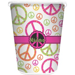 Peace Sign Waste Basket - Single Sided (White) (Personalized)