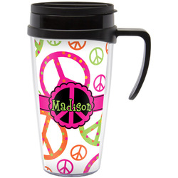 Peace Sign Travel Mug with Handle (Personalized)