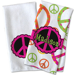 Peace Sign Waffle Weave Kitchen Towel (Personalized)