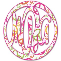 Peace Sign Monogram Decal - Small (Personalized)
