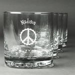 Peace Sign Whiskey Glasses (Set of 4) (Personalized)