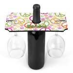 Peace Sign Wine Bottle & Glass Holder (Personalized)