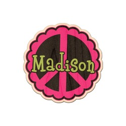 Peace Sign Genuine Maple or Cherry Wood Sticker (Personalized)