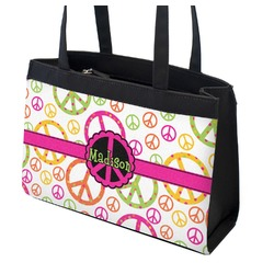 Peace Sign Zippered Everyday Tote (Personalized)