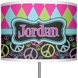 "Harlequin & Peace Signs 13"" Drum Lamp Shade (Personalized)"