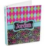Harlequin & Peace Signs 3-Ring Binder (Personalized)