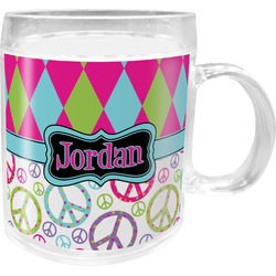 Harlequin & Peace Signs Acrylic Kids Mug (Personalized)