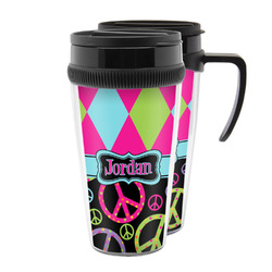 Harlequin & Peace Signs Acrylic Travel Mugs (Personalized)