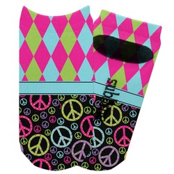 Harlequin & Peace Signs Adult Ankle Socks (Personalized)