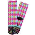 Harlequin & Peace Signs Adult Crew Socks (Personalized)