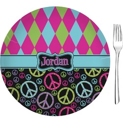 """Harlequin & Peace Signs Glass Appetizer / Dessert Plate 8"""" (Personalized)"""