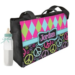Harlequin & Peace Signs Diaper Bag w/ Name or Text
