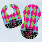 Harlequin & Peace Signs Baby Bib & Burp Set w/ Name or Text