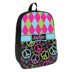Harlequin & Peace Signs Kids Backpack (Personalized)