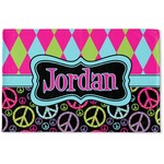 Harlequin & Peace Signs Woven Mat (Personalized)