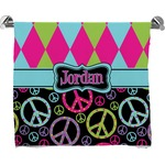 Harlequin & Peace Signs Full Print Bath Towel (Personalized)