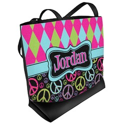 Harlequin & Peace Signs Beach Tote Bag (Personalized)