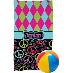 Harlequin & Peace Signs Beach Towel (Personalized)
