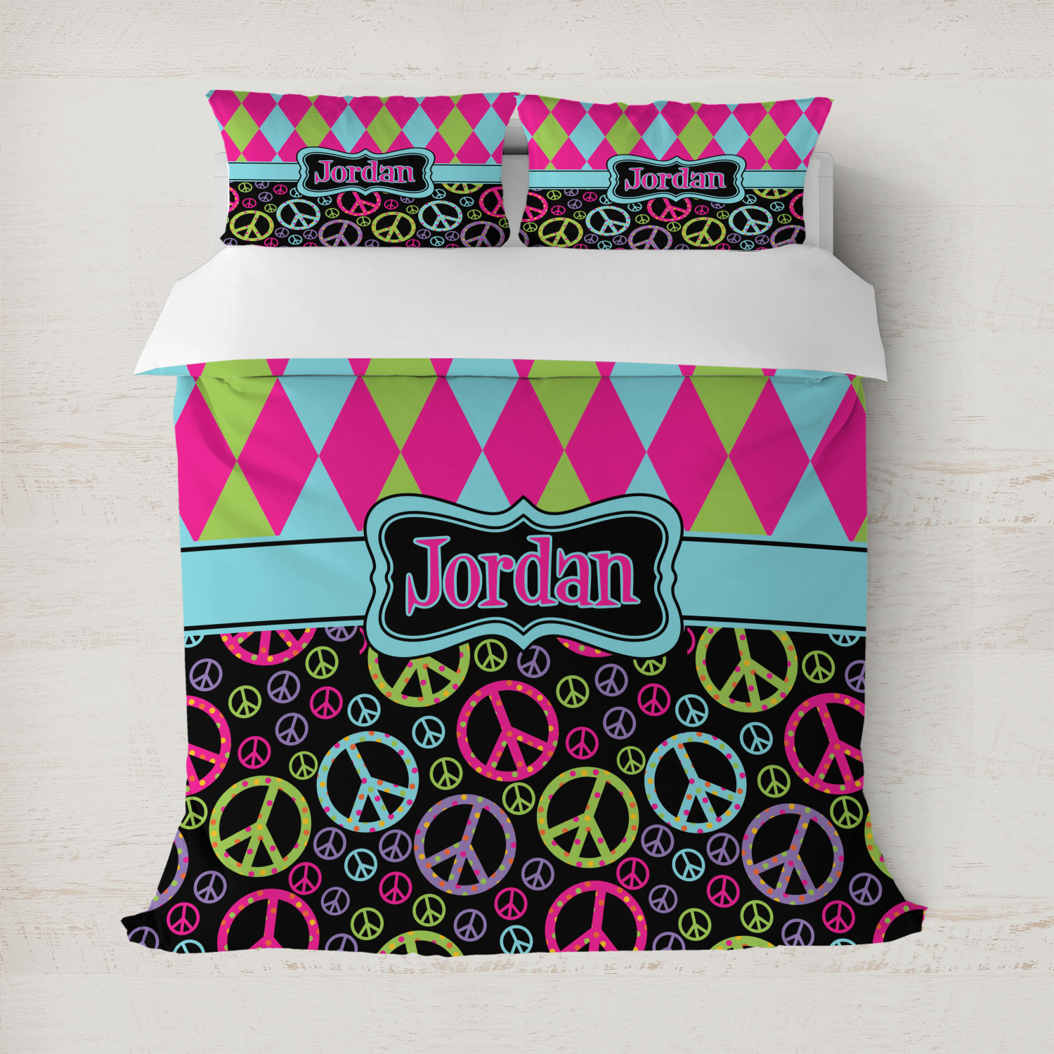 Harlequin & Peace Signs Duvet Covers (Personalized ...
