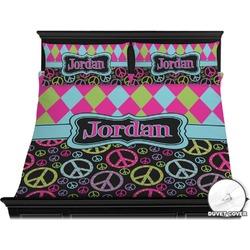 Harlequin & Peace Signs Duvet Cover Set - King (Personalized)