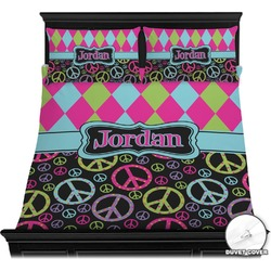 Harlequin & Peace Signs Duvet Cover Set (Personalized)