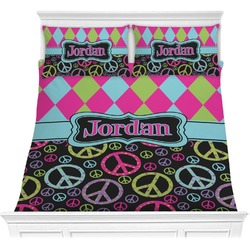 Harlequin & Peace Signs Comforter Set (Personalized)