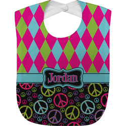 Harlequin & Peace Signs Baby Bib (Personalized)