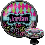 Harlequin & Peace Signs Cabinet Knob (Black) (Personalized)