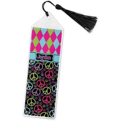Harlequin & Peace Signs Book Mark w/Tassel (Personalized)
