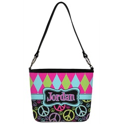 Harlequin & Peace Signs Bucket Bag w/ Genuine Leather Trim (Personalized)