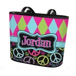 Harlequin & Peace Signs Bucket Tote w/ Genuine Leather Trim (Personalized)