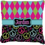 Harlequin & Peace Signs Faux-Linen Throw Pillow (Personalized)