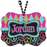 Harlequin & Peace Signs Rear View Mirror Decor (Personalized)