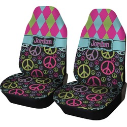 Harlequin & Peace Signs Car Seat Covers (Set of Two) (Personalized)